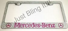 Mercedes Benz Stainless Steel license plate frame W Pink Swarovski Crystals