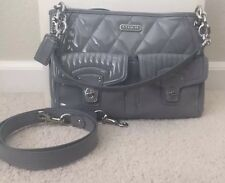 Coach #18678 Patent Leather Shoulder / Cross Body Bag Grey/ Silver