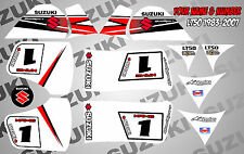 suzuki lt50 quad graphics stickers decals name & number lt 50 mx laminate vinyl