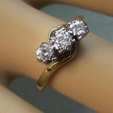 9 ct gold second hand  three stone diamond cross over ring
