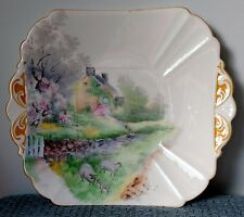 "Shelley ~ ""Sheep & Cottage"" ~ Queen Anne Art Deco ~ SQUARE CAKE PLATE ~ #11723"