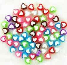 100Pcs 7*8 mm Candy Mixed Color Acrylic Heart Spacer Loose Beads