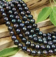 5PC 8-9MM Black Akoya Pearl Round Loose Beads 15""