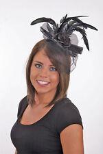BLACK FLOWER ROSE LACE FEATHER HEADBAND SALOON GIRL SHOWGIRL COSTUME HEADPIECE
