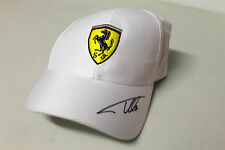 FERNANDO ALONSO HAND SIGNED WHITE FERRARI CAP UNFRAMED + PHOTO PROOF & C.O.A