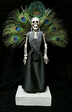 Day of the Dead Peacock Showgirl a on Stage Mexican Folk Art Dia De los Muertos