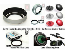 FK34u UV Filter + 3 Shutter Button + Lens Hood LH-X10 + Pen for Fujifilm X10 X20