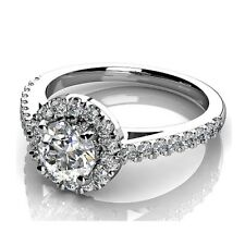 Clearance Platinum F/VS 0.75Ct Round Diamond Halo Set Engagement Ring