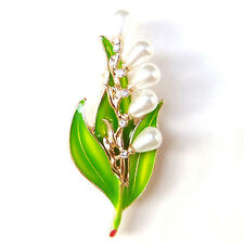 Lily of the Valley Gold Leaf White Flower Pearl Crystal Lovely Elegant Brooch