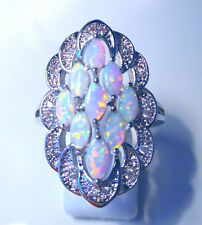 """GORGEOUS WHITE  FIRE OPAL  RING UK Size """"T"""" US  10.5"""