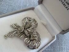 VINTAGE JEWELLERY SIGNED KIGU ART DECO DESIGN  MARCASITE BROOCH PIN rhodium
