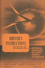 1957 DRIVER'S INSTRUCTIONS IMPERIAL-CHRYSLER-DE SOTO-DODGE-PLYMOUTH ENGLISCH