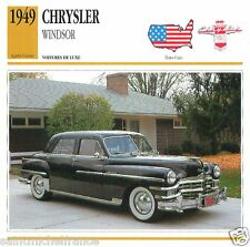 CHRYSLER WINDSOR 1949 CAR VOITURE UNITED STATES ÉTATS UNIS CARTE CARD FICHE