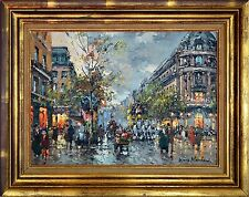 French 20th Century Impressionistic Oil Painting Street Scene Antoine Blanchard