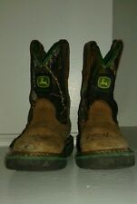 John Deere Camouflage Cowboy Boots Kids' Sz 8.5 Brown Leather