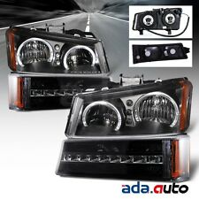 2003-2006 Chevy Silverado/Avalanche [LED Halo] Black Headlights+LED Bumper Lamps