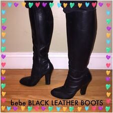 AMAZING bebe Leather Boots Black Sz 8 Med Classic Style **SUMMER SALE**