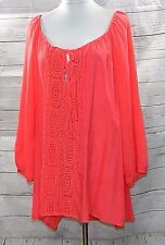 SPENSE WOMEN PLUS SIZE 1X ROMANTIC SEMI SHEER TUNIC TOP BLOUSE SHIRT CORAL