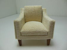 Dollhouse Miniatures Furniture 1/12: 3226-1wnve Walnut Upholstered Chair