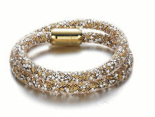 Stardust Slake 3D Bracelet Swarovski Elements Crystal Gold Plated Closure Gold
