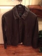 Jos A Bank Men's Leather Jacket Executive Collection Brown Size Large Bomber