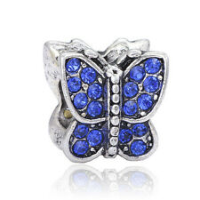 Butterfly blue Charms Bead Fit Silver Pendant Bracelet&Necklace Chain