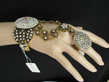 New Women Antique Gold Slave Bracelet Rhinestones Big Circle Small Flowers Ring