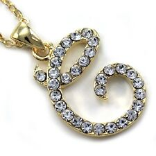 Initial Letter C Pendant Necklace High Polish Gold Tone Clear Charm Women Teen