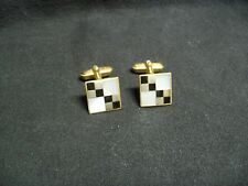Vintage 1950's Mother of Pearl & Black Onyx Cufflinks Marked Germany