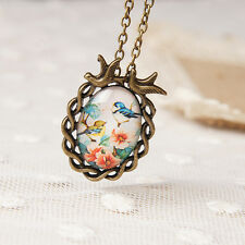 Vintage Oval Flower Bird Pendant Necklace Cute Glass Cabochon Statement Necklace