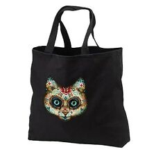 Sugar Skull Cat New Cotton Tote Bag Events Parties Gifts Day of the Dead