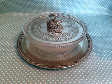 Antique c1860 Philip Ashberry silver plated & glass butter dish with swan finial