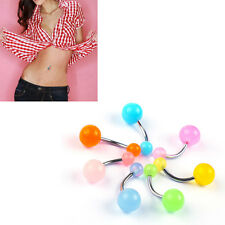 Lot of 7pcs Glow In Dark/UV Light 14G Belly Button Navel Rings Piercing