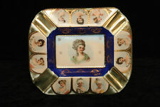 ROYAL VIENNA BEEHIVE COBALT PORCELAIN CHINA 10 PORTRAIT ASH TRAY HAND PAINTED