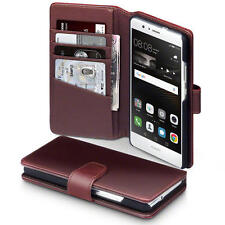 Luxury Real Genuine Leather Wallet Case for Huawei P9 Lite - Brown