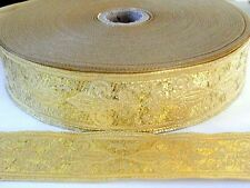 10.9yds  Jacquard Woven Ribbon/Trim  Fleur de Lis Metallic Gold