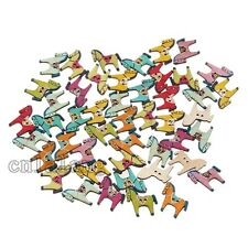 250x Mixed Colours Horse Sewing Wooden Buttons Fit Scrapbook Crafts 2 Holes C