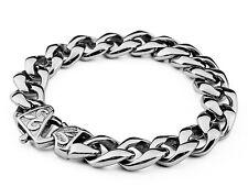 8.5 inch Rocker Biker Gothic Curb Cuban Stainless Steel Bracelet Chain 58g