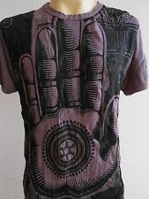 The Hand of The Buddha OM Men T Shirt  Denim Wrinkled cut Purple M DB06