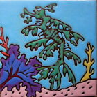 Leafy Sea Dragon Seahorse Ceramic Tile Hand Painted, Wall Art, Trivet, install