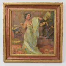 1930's Oil Painting Flamenco Dancer or Chanteuse in Bar with Guitarist