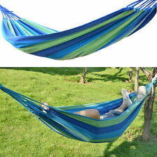 Portable Cotton Rope Outdoor Swing Fabric Camping Hanging Hammock Canvas Bed H2