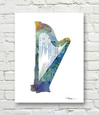 HARP Contemporary Watercolor Abstract Music ART Print by Artist DJR