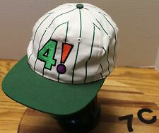 "BIG PLAY GOLF ""4!"" HAT GREEN & WHITE PINSTRIPED SNAPBACK ADJUSTABLE VGC"