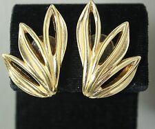 Vintage CHRISTIAN DIOR Signed Gold Tone Art Deco Style Earrings Clip-on