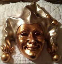Gold & Silver Tone Venetian Jester Joker Ceramic Decorative Wall Mask Mardi Gras