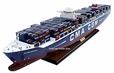 "CMA CGM MARCO POLO Container Ship Model 40"" - Handmade Wooden Ship Model NEW"