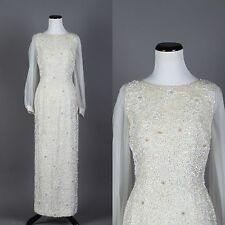 Small VTG 60s Floor Length White Beaded Wedding Dress Formal Gown