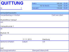 PC Quittung - Quittungsprogramm mit Journal (MS Excel)