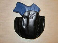 RUGER LC9 WITH CRIMSONTRACE LASER, FORMED LEATHER PANCAKE HOLSTER, RIGHT HAND